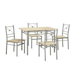 Sturdy Dining Table In A set Of Five, Silver