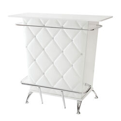 Contemporary Style Leatherette Padded Bar Table With Button Tufting, White