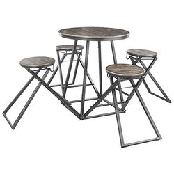 Wood and Metal Counter Height Table with Four Stools, Pack of 5, Gray and Brown