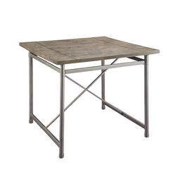 Metal Frame Counter Height Table with Wooden Top and X Shaped Support, Gray