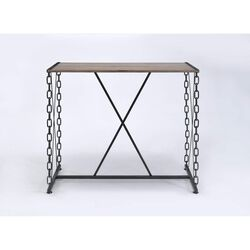 Industrial Style Rectangular Wood and Metal Bar Table, Black and Brown