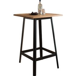 Transitional Square Shaped Wooden Bar Table With Metal Base, Black and Brown