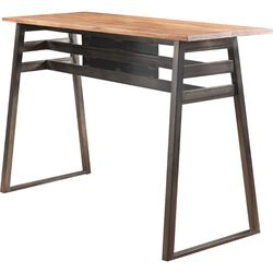 Industrial Rectangular Wooden Bar Table with Metal Sled Base,Gray and Brown