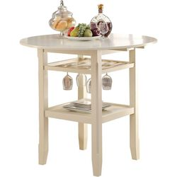 Round Wooden Counter Height Table With Wine Glass Shelf, Cream