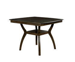 Transitional Style Curved Solid Wood Counter Height Table with Flowing Legs, Brown