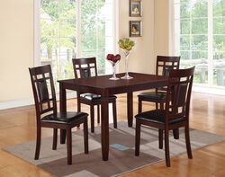 Wooden And Leather 5 Pieces Dining Set In Brown And Black