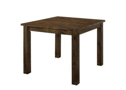 Rectangular Solid Wood Counter Height Table with Block Legs, Brown