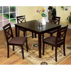 Wooden Dining Set with Slatted Back Chairs, Pack of 5, Brown