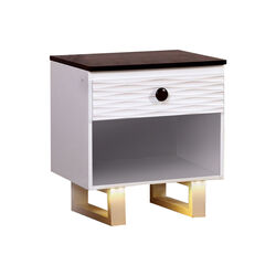 MEREDITH NIGHT STAND WITH USB OUTLET , White & Dark Walnut