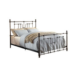 Contemporary Metal Queen Bed, Black