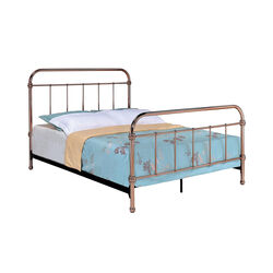 Metal Eastern King Bed with Smooth Curved Panels, Copper