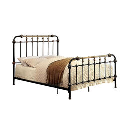 Metal Eastern King Bed with Gold Accent, Black