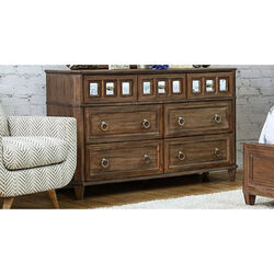 Spacious Wooden Vanity Desk with Scrolled Poster Legs, Cherry Brown