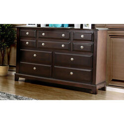 5 Drawer Wooden Chest with Wood Grain Details and Block Legs, Brown