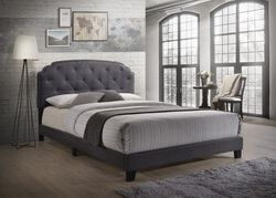 Modern Queen Bed, Gray Fabric