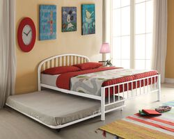 Metal Full Bed In Slatted Style, White