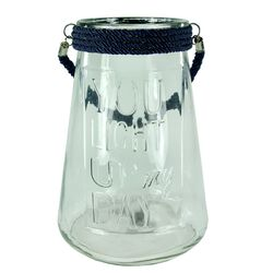 Clear Glass Lantern With Rope, Dark Blue