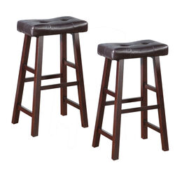 Leather Upholstered Wooden Bar Stools Brown Set Of 2