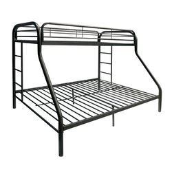 Metal Twin XL/Queen Bunk Bed With Ladders, Black
