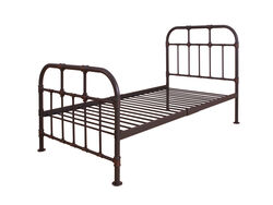 Industrial Style Metal Twin Size Bed with Pipe Inspired Frame, Brown