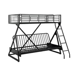 Z Shaped Metal Twin Over Full Futon Loft Bed with Attached Ladder, Black