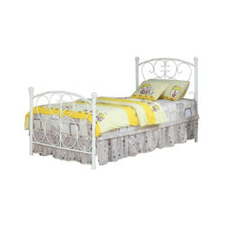 Princess Design Twin Size Metal Bed, White