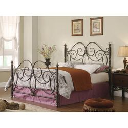 Fine-looking Queen Size Metal Bed with Scroll Details, Bronze