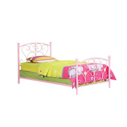 Metal Frame Twin Size Bed, Pink