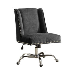 Height Adjustable Swivel Office Chair with Metal Base, Gray and Silver