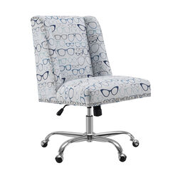 Fabric Upholstered Office Chair with Glasses Print, Gray and Silver
