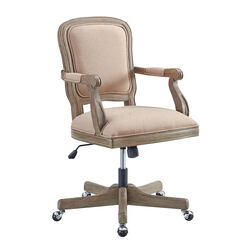 Traditional Wooden Office Chair with 5 Spoke base and Manchette, Brown