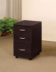 3 Drawer Wooden File Cabinet With Casters and Metal Handles, Brown