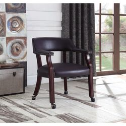 Traditional Upholstered Office Chair, Dark Cherry