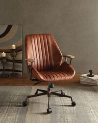 Metal & Leather Executive Office Chair, Cocoa Brown