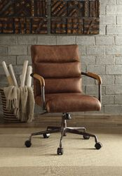 Metal & Top Grain Leather Executive Office Chair, Retro Brown
