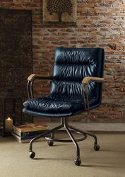 Metal & Leather Executive Office Chair, Vintage Blue