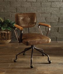 Leatherette Button Tufted Office Chair with 5 Star Caster Base, Brown