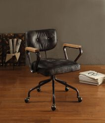 Metal & Leather Executive Office Chair, Black