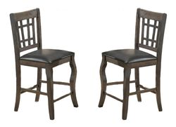 Wooden Counter Height Chair With Designer Back, Set of 2, Gray