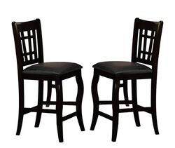 Wooden Counter Height Chair With Designer Back, Set of 2, Black