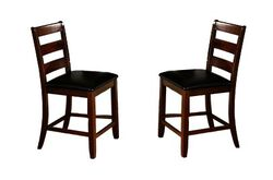 Ladder Back Wooden Pub Chair With Footrest, Set of 2, Dark Brown