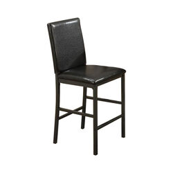 Faux Leather High Chairs With Foot Rest, Set Of 2, Black