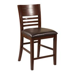 Wooden Pub Chairs With Padded Seat,  Set of 2,  Brown
