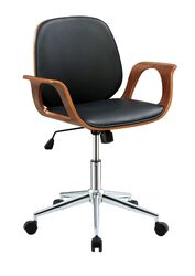Wood and Metal Office Arm Chair with Leatherette Seating, Black and Brown