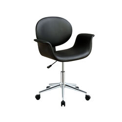 Metal & Wooden Office Arm Chair, Black