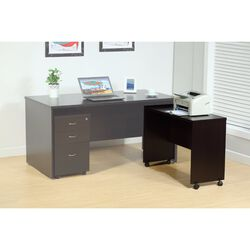 Stylish Dark Brown Finish Desk Return With Spacious Display Top.