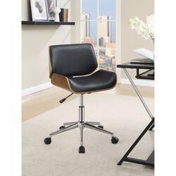 Contemporary Small-Back Home Office Chair, Black/Walnut