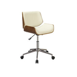 Contemporary Small-Back Home Office Chair, Beige/Walnut