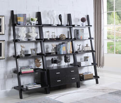 Ladder Bookcase With 4 Storage Drawers And Open Shelves, Cappuccino