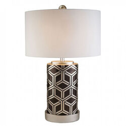 Well-designed Polyresin Table Lamp, Silver And Black